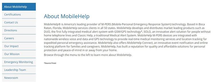 MobileHelp Background Information