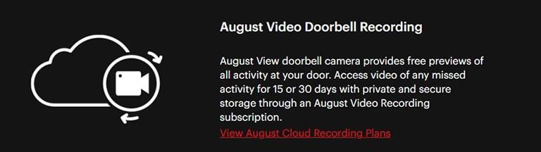 August Doorbell Free Video Storage